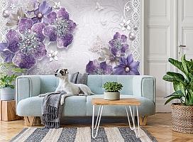 3D Фотообои «Ювелирные фиолетовые цветы» вид 2