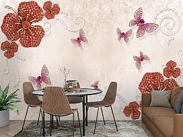 3D Фотообои «Композиция с ювелирными бабочками» вид 3