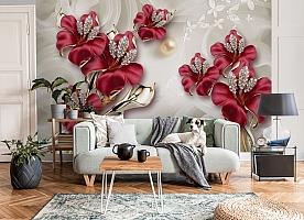 3D Фотообои «Драгоценные лилии»