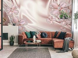 3D Фотообои «Клевер с бриллиантами в нежно-розовых тонах» вид 4