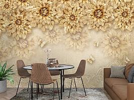 3D Фотообои «Инсталляция с золотыми цветами» вид 3