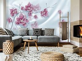3D Фотообои «Ювелирная орхидея на шелковом фоне» вид 7
