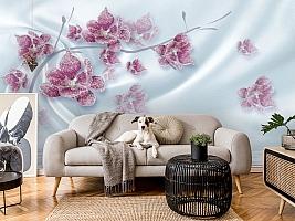3D Фотообои «Ювелирная орхидея на шелковом фоне» вид 5