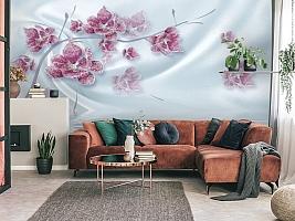 3D Фотообои «Ювелирная орхидея на шелковом фоне» вид 4