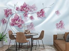 3D Фотообои «Ювелирная орхидея на шелковом фоне» вид 3