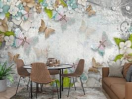 3D Фотообои «Цветы и бабочки» вид 3