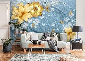 3D Фотообои «Золотые цветы с бабочками на голубой ткани» вид 8