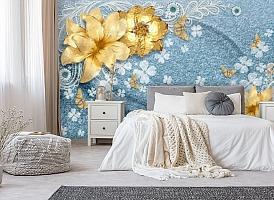 3D Фотообои «Золотые цветы с бабочками на голубой ткани» вид 6