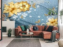 3D Фотообои «Золотые цветы с бабочками на голубой ткани» вид 4