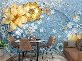 3D Фотообои «Золотые цветы с бабочками на голубой ткани» вид 3