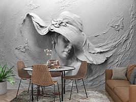 3D Фотообои «Барельеф женщина в шляпе» вид 3