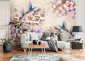 3D Фотообои «Цветочное изобилие с бабочками» вид 8