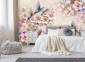 3D Фотообои «Цветочное изобилие с бабочками» вид 6