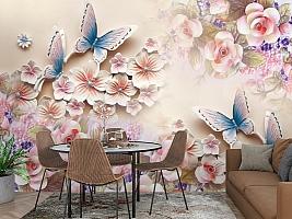 3D Фотообои «Цветочное изобилие с бабочками» вид 3