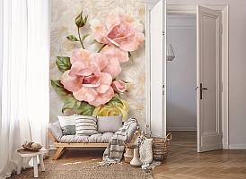 3D Фотообои «Объемные розы под мрамор» вид 8