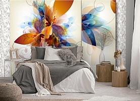 3D Фотообои «Объемный триптих с абстрактными цветами» вид 5