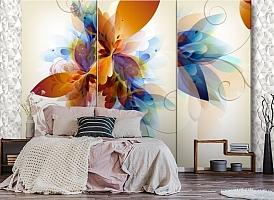 3D Фотообои «Объемный триптих с абстрактными цветами» вид 4