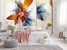 3D Фотообои «Объемный триптих с абстрактными цветами» вид 2