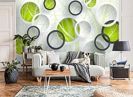 3D Фотообои «Объемные зеленые круги»