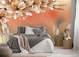 3D Фотообои «Персиковая инсталляция с цветами» вид 5