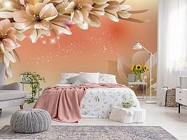 3D Фотообои «Персиковая инсталляция с цветами» вид 2