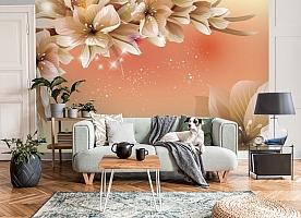 3D Фотообои «Персиковая инсталляция с цветами»