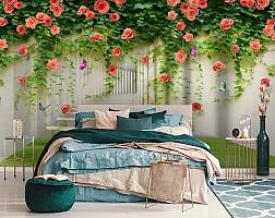 3D Фотообои «Тоннель с лианами роз» вид 6