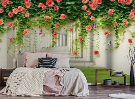 3D Фотообои «Тоннель с лианами роз» вид 4