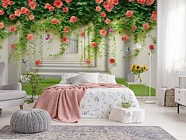 3D Фотообои «Тоннель с лианами роз» вид 2