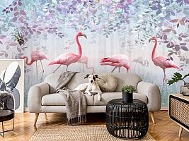 3D Фотообои «Фламинго в саду» вид 4
