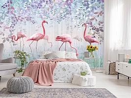 3D Фотообои «Фламинго в саду» вид 3