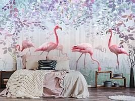 3D Фотообои «Фламинго в саду» вид 2