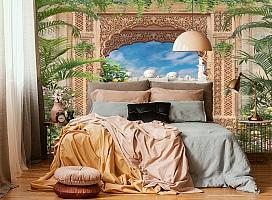 3D Фотообои «Восточная арка с павлинами» вид 4