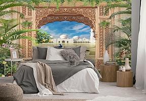 3D Фотообои «Восточная арка с павлинами» вид 2