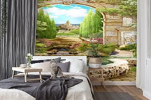 3D Фотообои «Прудик в королевском саду» вид 7