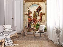 3D Фотообои «Арка в цветущем дворике» вид 9