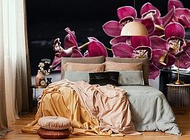 3D Фотообои «Бордовые орхидеи» вид 6