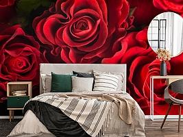 3D Фотообои «Бордовые розы» вид 4