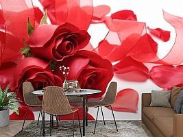 3D Фотообои «Композиция с алыми розами» вид 2