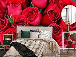 3D Фотообои «Нежные бордовые розы» вид 4