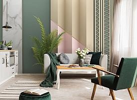 3D Фотообои «Пальмовые ветви на объемной стене»
