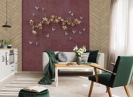 3D Фотообои «Серебряные птички над золотыми зонтиками»
