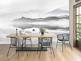 3D Фотообои «Одинокая лодка в тумане»
