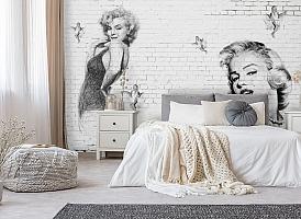 3D Фотообои «Мэрилин Монро. Настенная роспись»
