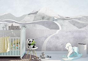 3D Фотообои «Фреска для детской с горными далями»