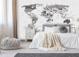 3D Фотообои «Карта на стене в стиле лофт» вид 8