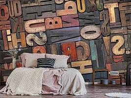 3D Фотообои «Деревянные буквы в интерьере» вид 6