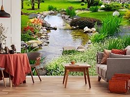 3D Фотообои  «Ручей в саду»  вид 5