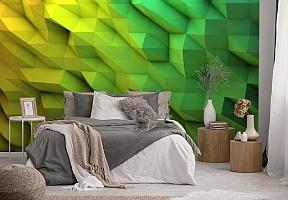 3D Фотообои «Зеленые полигоны» вид 4