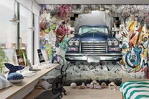 3D Фотообои «Автомобиль в подземке» вид 3